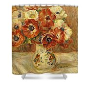 Still Life With Anemones  Shower Curtain by Pierre Auguste Renoir