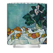 Still Life With Apples And A Pot Of Primroses, 1890 Shower Curtain