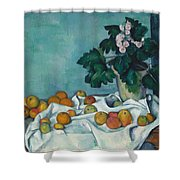 Still Life With Apples And A Pot Of Primroses Shower Curtain