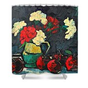 Still Life With Apples And Carnations Shower Curtain by Ana Maria Edulescu