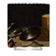 Still Life With Armor Shield Halberd Sword Leather Jacket And Drum Shower Curtain
