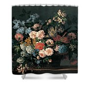 Still Life With Basket Of Flowers Shower Curtain