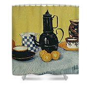 Still Life With Blue Enamel Coffeepot, Earthenware And Fruit, 1888 Shower Curtain