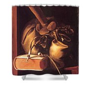 Still Life With Book And Purse Shower Curtain