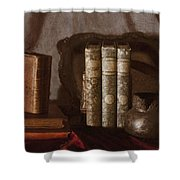 Still Life With Books Shower Curtain