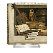 Still Life With Books Sheet Music Violin Celestial Globe And An Owl Shower Curtain