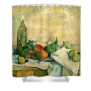 Still Life With Bottle Of Liqueur Shower Curtain by Paul Cezanne