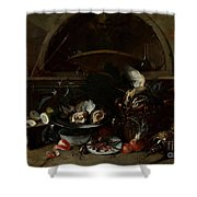 Still Life With Bottles And Oysters Shower Curtain