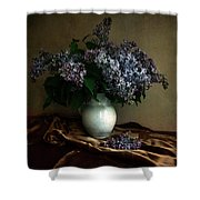Still Life With Bouqet Of Fresh Lilac Shower Curtain