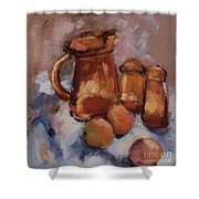 Still Life With Brown Pitcher Shower Curtain