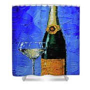 Still Life With Champagne Bottle And Glass Shower Curtain