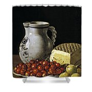 Still Life With Cherries  Cheese And Greengages Shower Curtain