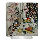 Still Life With Daisies And Fruit Shower Curtain