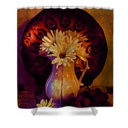 Still Life With Daisies And Grapes - Oil Painting Edition Shower Curtain