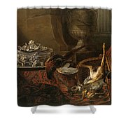 Still Life With Dead Game And A Silver Tureen On A Turkish Carpet Shower Curtain