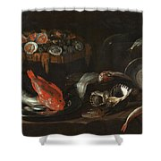 Still Life With Fish And Oysters  Shower Curtain