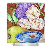 Still Life With Fish Shower Curtain by Loretta Nash