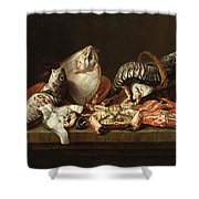 Still Life With Fishes, A Crab And Oysters Shower Curtain