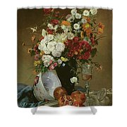 Still Life With Flowers And Pomegranates Shower Curtain