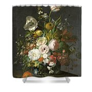 Still Life With Flowers In A Glass Vase Shower Curtain
