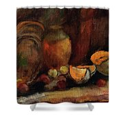 Still Life With Fruits And Pumpkin Shower Curtain