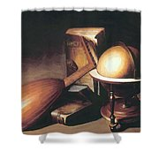 Still Life With Globe Lute And Books Shower Curtain
