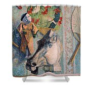 Still Life With Horse Head Shower Curtain