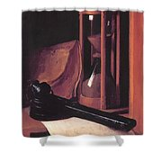 Still Life With Hourglass Pencase And Print Shower Curtain