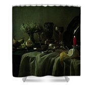 Still Life With Metal Dishes, Fruits And Fresh Flowers Shower Curtain