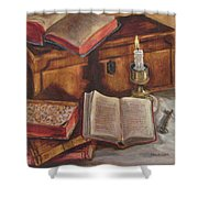 Still Life With Old Books Shower Curtain