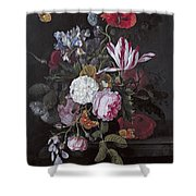 Still Life With Peonies Roses Irises Poppies And A Tulip With Butterflies A Dragonfly And Other Inse Shower Curtain