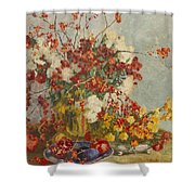 Still Life With Pink Flowers Shower Curtain