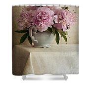 Still Life With Pink Peonies Shower Curtain