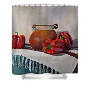 Still Life With Red Peppers Shower Curtain