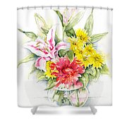 Still Life With Red Zinnia Shower Curtain