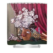 Still Life With Roses And Books Shower Curtain