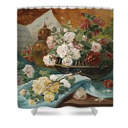 Still Life With Roses In A Cup Ornamental Object And Score Shower Curtain