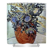 Still Life With Thistles Shower Curtain by Vincent van Gogh