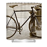 Still Life With Trek Bike In Sepia Shower Curtain