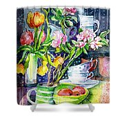 Still Life With Tulips And Apple Blossoms  Shower Curtain