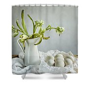 Still Life With Tulips And Eggs Shower Curtain