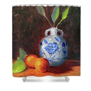 Still Life With Vase And Fruit Shower Curtain