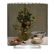 Still Life With Vase Of Hawthorn, Bowl Of Cherries, Japanese Bowl, And Cup And Saucer 1872 Shower Curtain