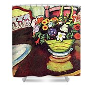 Still Life With Venison And Ostrich Pillow By August Macke Shower Curtain