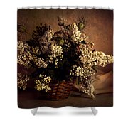 Still Life With White Flowers In The Basket Shower Curtain