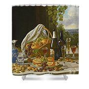 Still Life With Wine And Fruit Shower Curtain