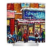 Stilwell's Candy Shop Montreal Memories Lasalle Verdun Winter City Scene Hockey Art Carole Spandau   Shower Curtain