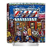 Stilwell's Candy Stop Winterscene Painting For Sale Montreal Hockey Art C Spandau Snowy Barber Shop Shower Curtain
