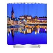 Stockholm Blue Hour Postcard Shower Curtain