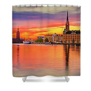 Stockholm Fiery Sunset Reflection Shower Curtain